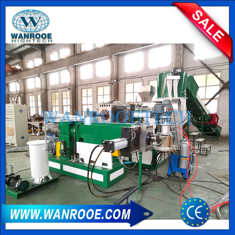 Double Stage Scrap Plastic Film Bag Granulating Machine With Compactor