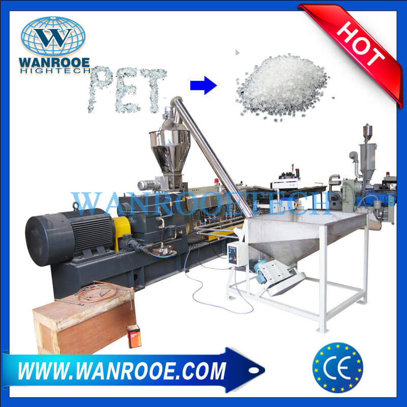 PET Flakes Twin Screw Pelletizing Granulating Machine