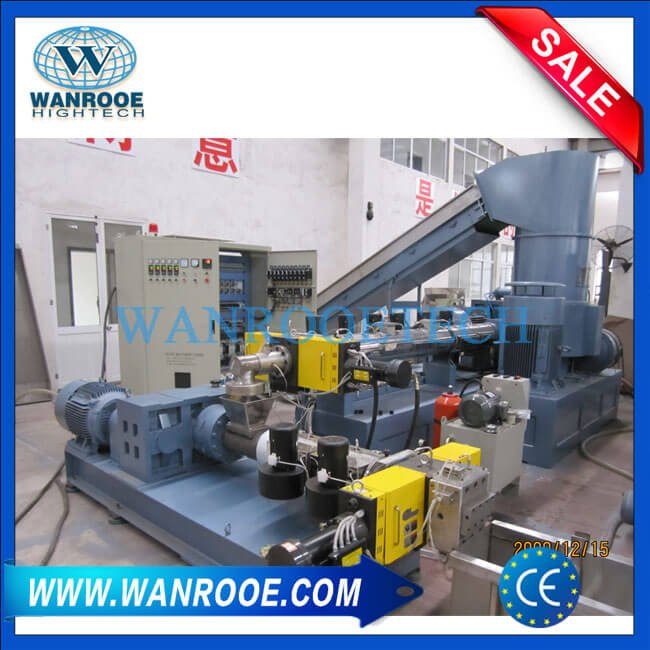 PP PE Film Compactor Double Stage Extruder Plastic Pelletizing Line