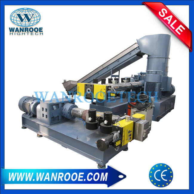 Double Stage PP PE LDPE HDPE BOPP Plastic Film Granulating Line With Compactor